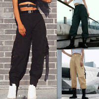 Women's Cargo Trousers Pants Solid PUNK-ROCK Long Loose Sports Pants With Buckle