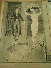 Une femme en chapeau est toujours habillée Nue Humour Print 1907