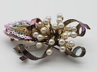 Vintage Flower Burst Brooch Pin Faux Pearls Enamel Ribbon Gold Tone Metal Unique