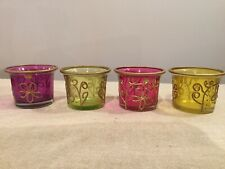 Set Of 3 Small Moroccan Glass/bead Tealight Holder/ornament