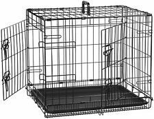 "Pet Crate 24"" Double Door Folding Metal Dog AmazonBasics"