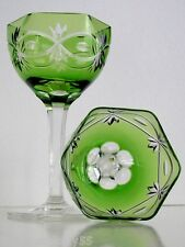 VINTAGE AUSTRIAN EMERALD CASED CUT TO CLEAR CRYSTAL CORDIALS Set of 2