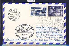 58503) LH FF Berlin - Genf Schweiz 4.5.92, Karte ab Österreich Enklave