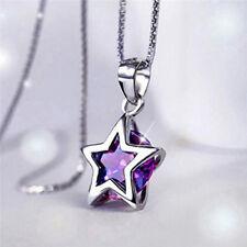 Elegante collana a pendente in argento con catena in argento zircone cuore cavo