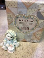 """Calico Kittens """"Sew Happy It's Your Birthday"""" Figurine With Box Collectible"""