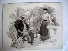 Dessin original ancien daté de 1910 et signé LB pour LEONCE BURRET - Aquarelle