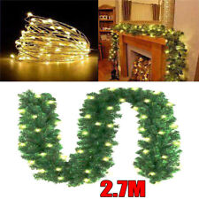 8.8FT Christmas Vine Ring Wreath Rattan Garland with LED Light Xmas Party Decor