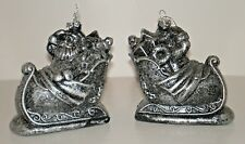 "2 Santa & Sleigh Plastic ""Pewter Look"" Ornaments set of 2 New with Tags"