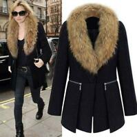 Fashion Women's Faux Fur Collar Jacket Overcoat Coat Parka Plus Size XL-6XL new@