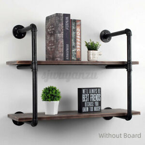 2 Tier Industrial DIY Pipe Shelf Shelves Bookshelf Rustic Brackets Wall Display
