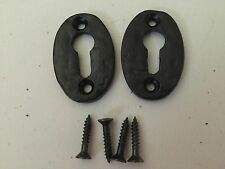 "Escutcheons 2"" Oval Cast Iron Black Antique Pair - 3 pairs for the price of 2"
