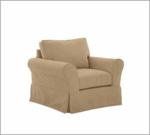Pottery Barn Comfort Grand Armchair Slipcover set - Walnut Twill - Box edge