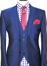 LUXURY MENS TED BAKER LONDON PETROL BLUE SLIM FIT 3 PIECE SUIT 42R W36 X L32