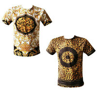 Mens Time Is Money Baroque Print Short Sleeve Tee Shirts Casual T-shirt Top Tee