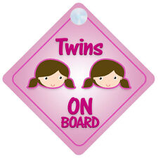 Twins Girls On Board Car Sign New Baby/Child Gift/Present