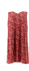 Denim & Co Printed Slvless V-Neck Dress Coral Multi XS NEW A292505