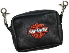 """Harley-Davidson Gürteltasche """"B + S"""" schwarzes Leder / orangener Stick *HD58-O*"""