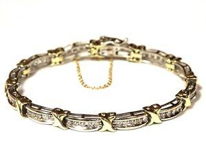 """10k yellow white gold 1.80ct diamond XOXO tennis bracelet 15.4g estate 7 1/2"""""""
