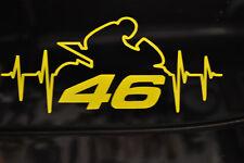 STICKERS FLUO ligne de vie 46  VALENTINO ROSSI Moto GP ,vr46  moto FLUO 7x15cm