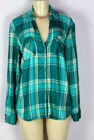 NYC NEW YORK & CO TEAL PLAID LONG SLEEVE BUTTON DOWN BLOUSE SIZE LARGE