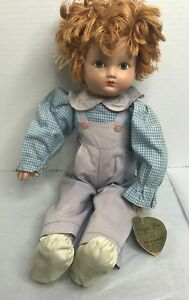 """Vintage  15"""" Effanbee Sugar Pie Doll Yarn Hair AO Hand Tag"""