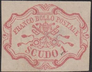 * O21-20 Stato Pontificio 1 scudo carminio (11) nuovo senza gomma.