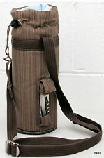 Picnic Time Wine Tote With Bottle Opener Beige Brown Strap Single