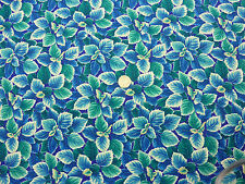 Quilting Fabric Turquoise Blue & Green Leaves 100% Cotton Fat Quarter