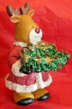 Santa Claus Reindeer holding Garland & ribbon bowl Trinket Holder figurine Resin