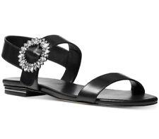 NIB size 6.5 Michael Kors Viola Leather Black Flat Slingback Sandals