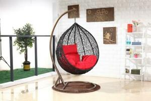 Brand New Swing Egg Chair Trapeze Wicker Rattan Hammock Hanging Pod Seat Black-M