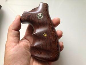 New Grip For S&W K/L Frame Square Butt - Checker Hardwood Handmade Finger Groove