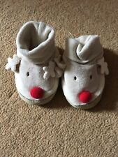 George Boys Beige Crawler Shoes With Rudolph The Reindeer Design Size 0-3 Months