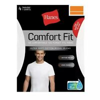 Men's Hanes Comfort Fit 4-Pack Crew T-shirts, Short Sleeve (White) S