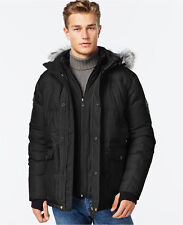 $590 Point Zero Men BLACK HOODED COAT PARKA DOWN  JACKET  WINTER  Bomber SIZE XL