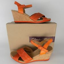 Clarks Helio Latitude High Heel Wedge Sandal Leather Womens Size 10 M AL2119
