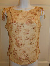 PS Per Seftion Sleeveless Beige & Tan Floral Top Jrs Size Large