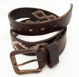 """Estribos Polo Brown Leather Belt 28"""" to 34"""""""