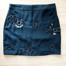 M&S Black Embellished Sequin Formal Party Fitted Short Skirt UK8 Date Going Out