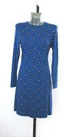 Ladies M&S Sizes 12 18 Blue Print Long Sleeve Dress Bnwt