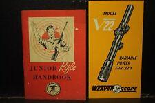 vintage Junior Rifle Handbook NRA & Weaver Scope Model V22 brochure