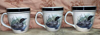 "3 Folkcraft Loon Lake Coffee Mug Cup By Scotty Z Stoneware Cabin 4"" T X 3.5"" D"