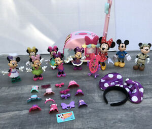 Disney Bow-tique Snap 'N Pose Style Minnie Mouse Dolls Lot Bows Mickey Trailer