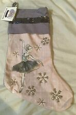 Envoguekids Ballerina Beaded And Sequin Christmas Stocking Pink Purple Lg.  18""