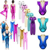 Kid Girl Gymnastics Ballet Dance Leotards Jumosuits Shiny Metallic Costume 3-14Y