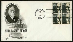 #1295 $5 John Bassett Moore-Block of 4, Art Craft FDC **ANY 4=FREE SHIPPING**