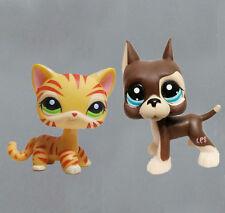 littlest pet shop LPS33 figure Brown Great Dane Dog & orange tiger striped Cat