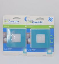 Lot of 2 GE 25360 SlimLine LED Outlet CoverLite, Wall Night Light Blue