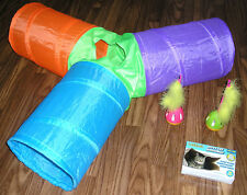 3 Hole Cat Tunnel Tube, Wobble Feather Cat Toys, Kitty Cat Grocery Bag Hideaway