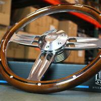 "14"" Polished Aluminum Steering Wheel with Wood Wrap and Chevy SS Horn - 6 Hole"